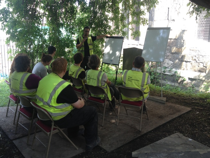 Gary and the team beginning this week's matrix session in the dappled shade of the Finds Tree.