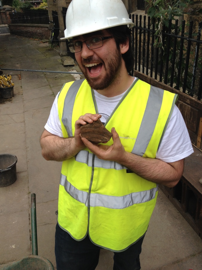 Biagio, clearly chuffed with his amphora fragment.