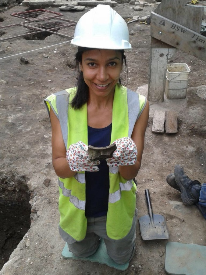 Carmen with a sherd of medieval pottery.