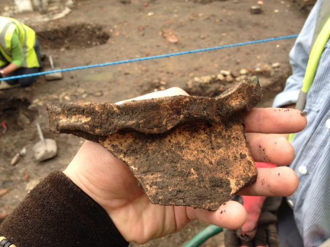 Alan's thumbprint decorated medieval pot rimsherd.