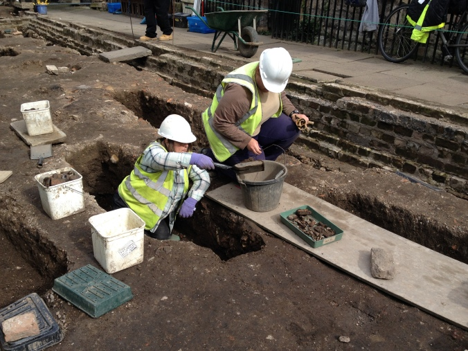 Janice working on a C19th burial.